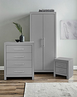 Dakota 3 Piece Bedroom Package (Bedside, 4 Drawer Chest, 2 Door Wardrobe)
