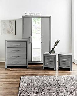 Dakota 4 Piece Bedroom Package (2 x Bedside, 4 Drawer Chest, 3 Door Wardrobe)
