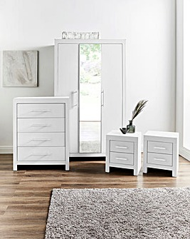 Dakota 4 Piece Bedroom Package (2 x Bedside, 4 Drawer Chest, 3 Door Wardrobe)