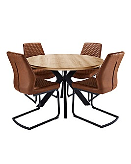 Austin Circular Table 4 Houston Chairs