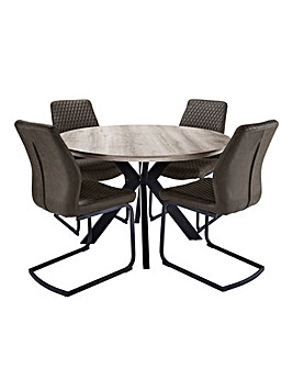 Austin Circular Dining Table with 4 Houston Chairs