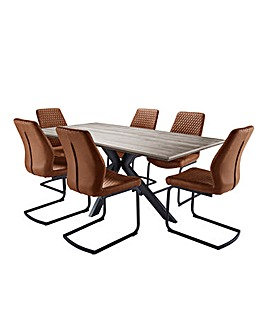 Austin Large Rectangular Dining Table with 6 Houston Chairs