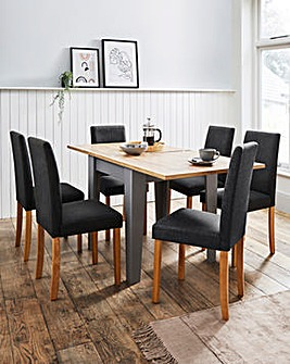 Hampton Square to Rectangle Table with 6 Mia Fabric Chairs