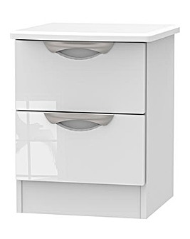 Milano Assembled Gloss 2 Drawer Bedside