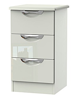 Milano Assembled High Gloss 3 Drawer Bedside Table