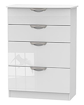 Milano Assembled High Gloss 4 Drawer Deep Chest