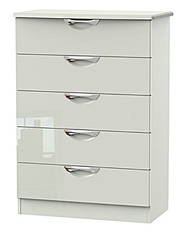 Milano Assembled High Gloss 5 Drawer Chest