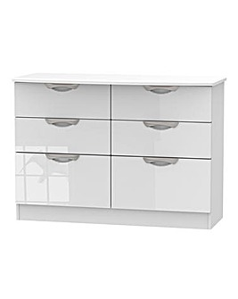 Milano Assembled High Gloss 6 Drawer Wide Chest