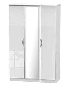 Milano Assembled High Gloss 3 Door Wardrobe with Mirror