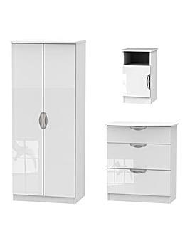 Milano Assembled 3 Piece Bedroom Set (Bedside, 3 Drawer Chest, 2 Door Wardrobe)