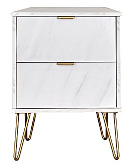 Monaco Assembled 2 Drawer Bedside Table