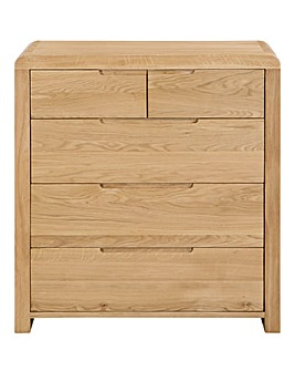 Malmo Curve Oak 3 +2 Drawer Chest