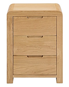 Malmo Curve Oak 3 Drawer Bedside Table