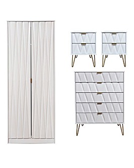 Remi Assembled 4 Piece package - 2 Door Wardrobe, 5 Drawer Chest, 2 x Bedsides