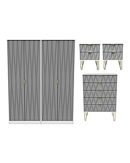 Remi Assembled 4 Piece - 4 Door Wardrobe, 5 Drawer Chest and 2 Bedside Tables