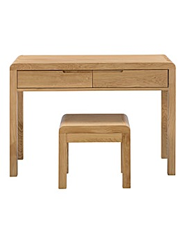 Malmo Curve Oak Dressing Table & Stool