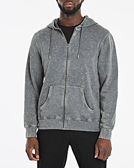 Acid Wash Zip Through Hoodie