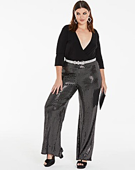 Diamond Metallic Wide Leg Trousers