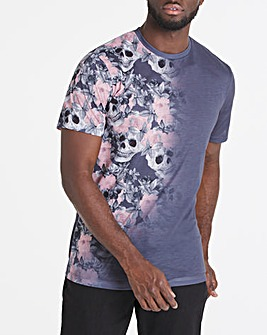 Floral and Sublimation Print T-Shirt