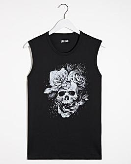 Floral Skull Print Muscle Fit Vest
