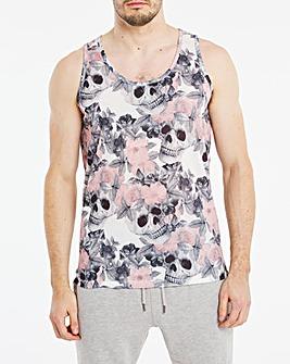 Floral Skull Sublimation Print Vest