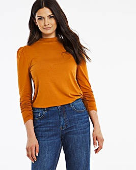 Tan Puff Shoulder Roll Neck Top