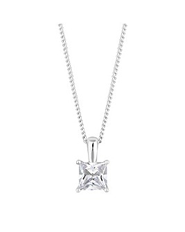 Simply Silver Sterling silver square cubic zirconia necklace