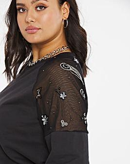 Black Sequin Mesh Sleeve Sweatshirt