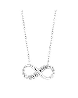 Simply Silver Pave Infinity Necklace