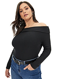 Black Fold Over Bardot Top