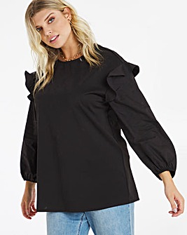 Black Poplin Volume Sleeve Sweatshirt