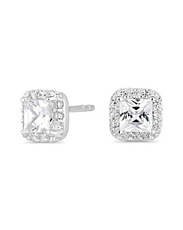 Simply Silver Sterling silver square halo earring