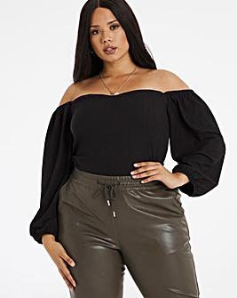 Black Textured Bardot Top