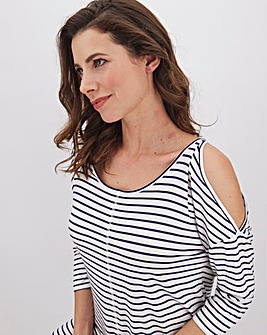 Navy Stripe Cold Shoulder Tunic