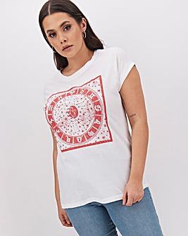 Celestial Print Slogan T Shirt