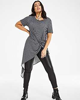 Grey Stripe Asymmetric Top