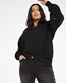 Black Embellished Sleeve Sweatshirt