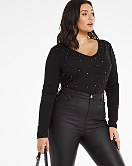 Black Studded Long Sleeve Top