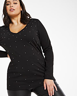 Black Diamante Studded Long Sleeve Top