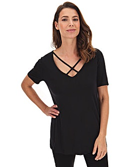 Black Deep Plunge Neck T-Shirt With Cross Over