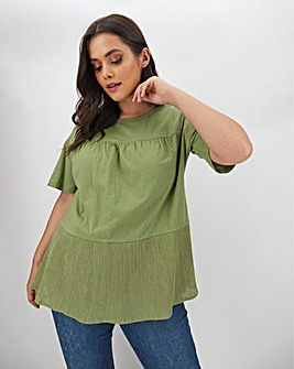 Olive Tiered Short Sleeve T-Shirt