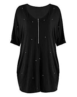 Black Zip Front Diamonte Tunic