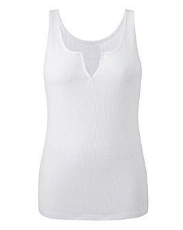 White Notch Front Ribbed Vest