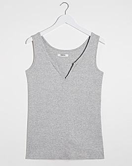 Grey Marl Notch Front Ribbed Vest