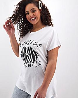 Zebra Print Lips Slogan T Shirt