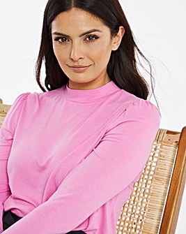 Pink Puff Shoulder Roll Neck Top