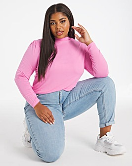 Pink Puff Shoulder Roll Neck Top