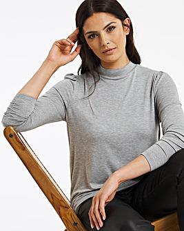 Grey Puff Shoulder Roll Neck Top