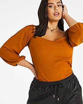 Rust Textured Bardot Top