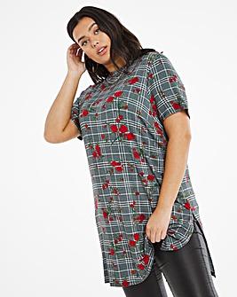 Mutli Check High Neck Split Side Tunic